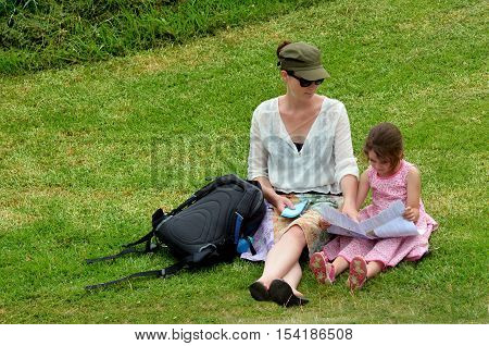 Mother And Daughter  Travel Hiking Outdoors