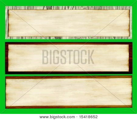 Vector Old Paper On Wood Banners