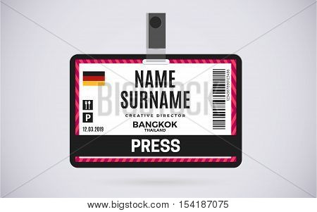 Event Press id card plastic badge with lanyard. vector design and text template illustration