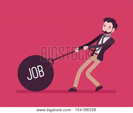 Businessman dragging a giant heavy weight on chain, written Job on a ball. Cartoon vector flat-style concept illustration