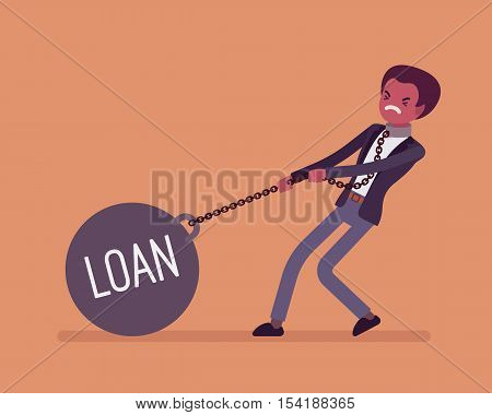 Businessman dragging a giant heavy weight on chain, written Loan on a ball. Cartoon vector flat-style concept illustration