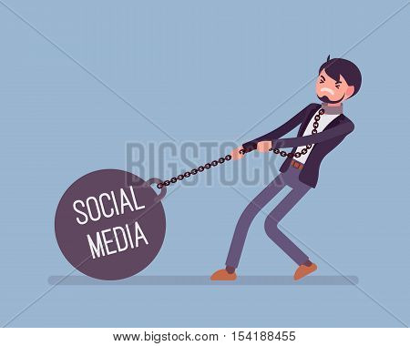 Businessman dragging a giant heavy weight on chain, written Social Media on a ball. Cartoon vector flat-style concept illustration
