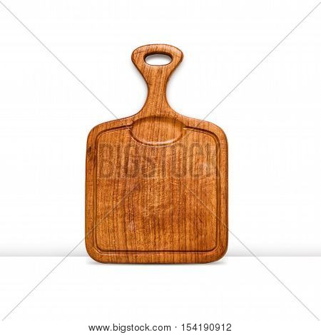 Old grunge wooden cutting board isolated on white background. Kitchen utensils. Object with clipping path