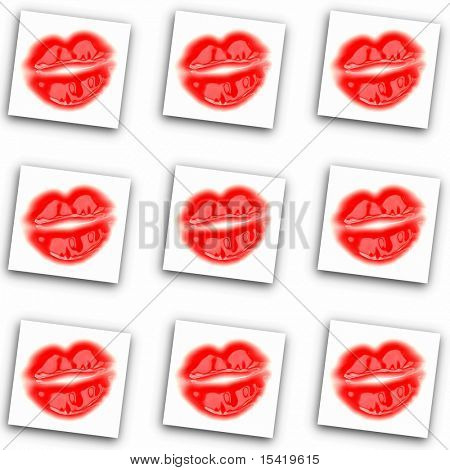 Pop Art Red Glossy Lips