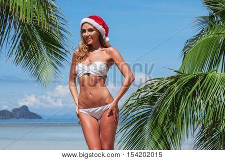 Woman in bikini celebrating Christmas on tropical beach with palms