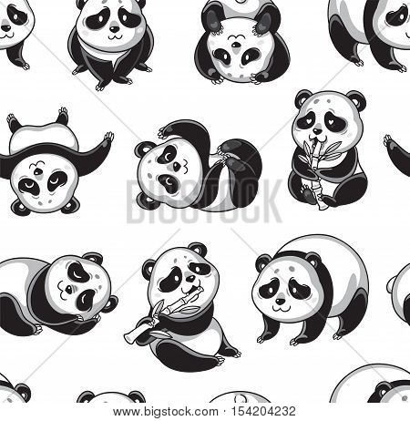 Seamless cartoon pattern with cute pandas. Black and white vector background. Zentangle coloring book page.
