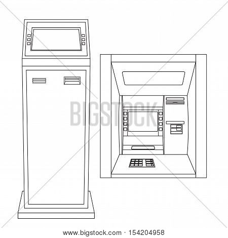ATM. Automated Teller Machine. Outline vector illustration isolated on white background