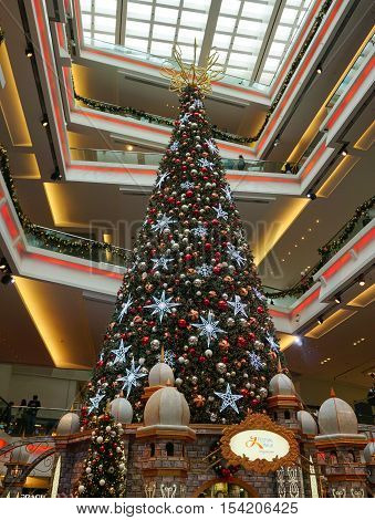 Giant Christmas Tree In Multilevel Shopping Mall