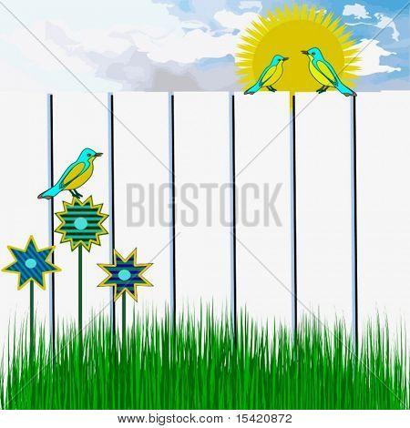 Vector Birds Sunny Day Scene