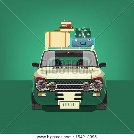 Green car loaded with suitcases Vector illustration