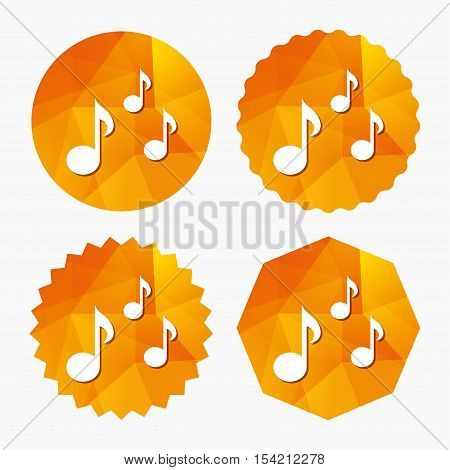 Music notes sign icon. Musical symbol. Triangular low poly buttons with flat icon. Vector