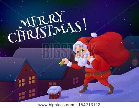 Merry christmas card. Santa claus sneaking with a gift in his hand and carrying sack of gifts. Christmas cartoon character. Vector illustration
