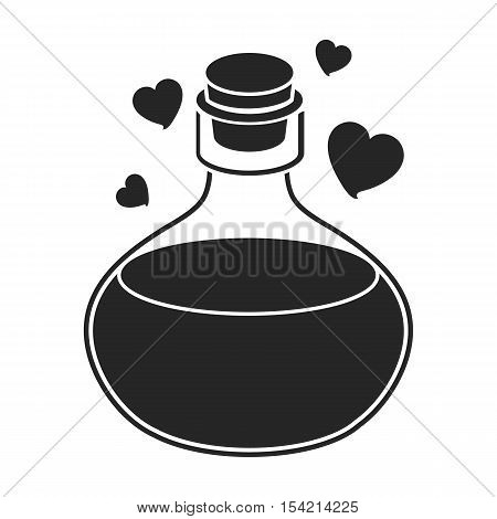 Love potion icon in black style isolated on white background. Black and white magic symbol vector illustration.