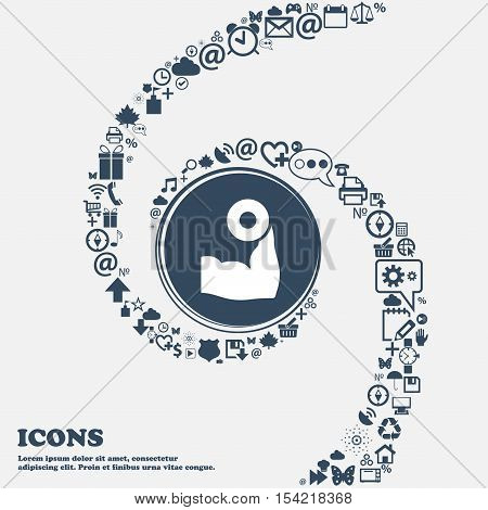 Arm Muscle With Dumbbell In Hand Icon In The Center. Around The Many Beautiful Symbols Twisted In A