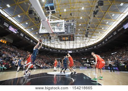 VALENCIA, SPAIN - OCTOBER 30th: Various players during spanish league match between Valencia Basket and Morabanc Andorra at Fonteta Stadium on October 30, 2016 in Valencia, Spain