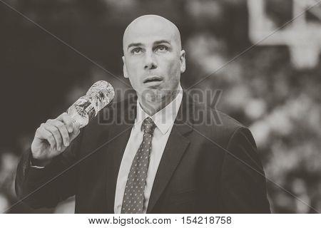 VALENCIA, SPAIN - OCTOBER 30th: Andorra coach Joan during spanish league match between Valencia Basket and Morabanc Andorra at Fonteta Stadium on October 30, 2016 in Valencia, Spain