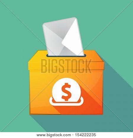 Long Shadow Ballot Box With  A Dollar Coin Entering In A Moneybox