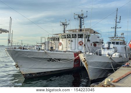 Labuan,Malaysia-June 15,2013:Malaysian Maritime Enforcement Agency class patrol boat docked at Labuan,Malaysia.Malaysia has launched an anti-terror unit, comprising officers from the police, armed forces and the Malaysian Maritime Enforcement Agency, to a