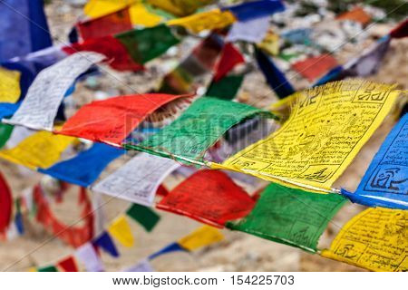 Tibetan Buddhism prayer flags (lungta) with \