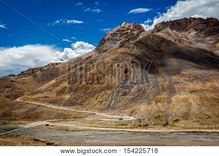Winding mountain road Manali-Leh to Ladakh  with bus in Indian Himalayas. Ladakh, India