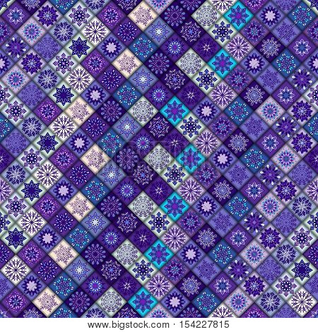 Vintage Seamless Pattern With Tile Patchwork Elements.