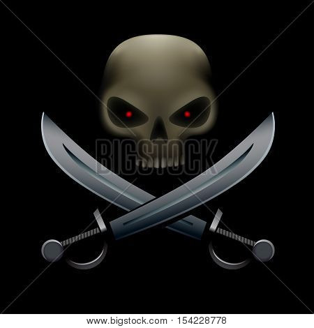 Realistic illustration of pirate skull with red eyes and on sabers and bottom. Pirate sign, piracy symbol