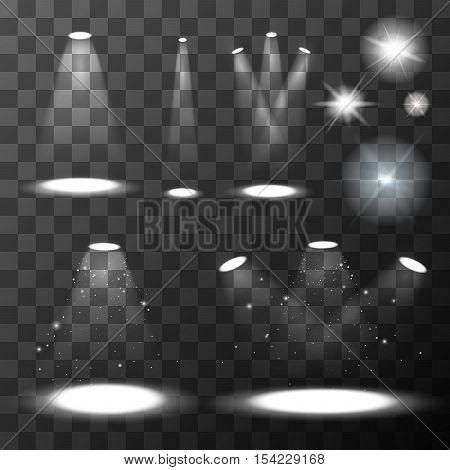 Set of different light sources. Illuminated spotlights on transparent background.