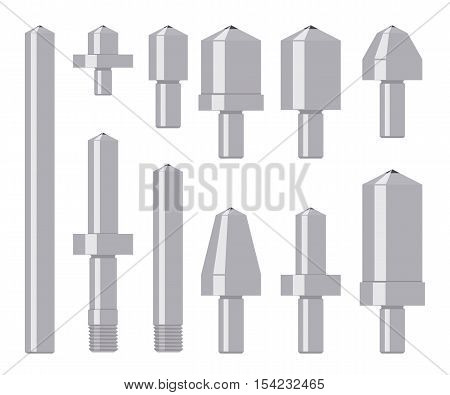 Set of diamond indenters isolated on white. Tools for material hardness testing. Vector illustration