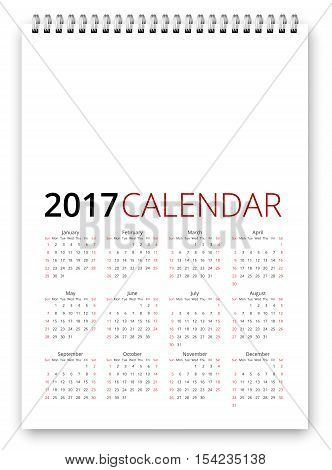 Simple calendar 2017 template. Week starts from sunday, holiday saturday and sunday. Vector realistic spiral notepad notebook