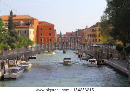 Nice view of Rio Novo from Fondamenta Santa Caterina Bridge Venice Italy