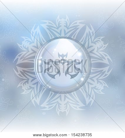 A vector illustration of a transparent snow globe in a snowflake frame on the blurred background with a zodiac sign Libra. Includes transparent objects and opacity masks.