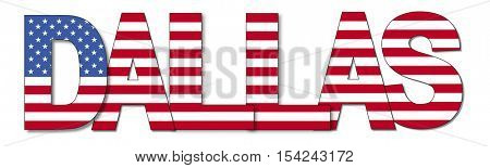 Dallas overlapping flag text illustration