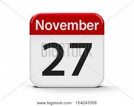 Calendar web button - The Twenty Seventh of November three-dimensional rendering 3D illustration