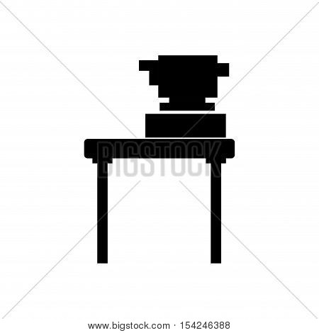 black silhouette equipment topography on desk vector illustration