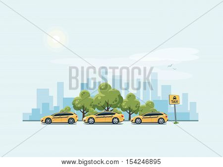 Parking Taxi Cars And City Background