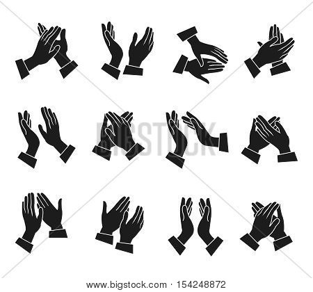 Clapping monochrome icons set with silhouettes of hands in different positions isolated vector illustration