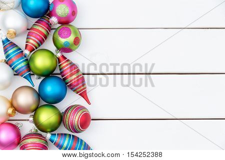 Border Of Assorted Colorful Christmas Ornaments