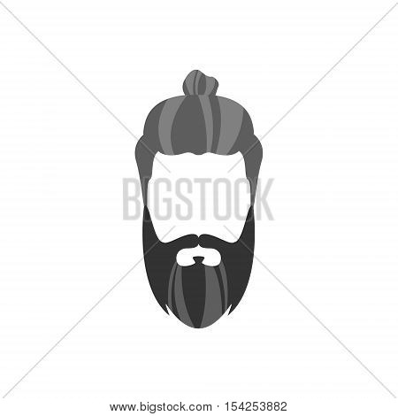 Hipster Male Hair and Facial Hair Style With Long Beard And Bun.Hair, Beard And Moustache Style Design Template