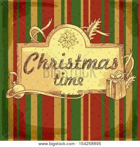Christmas background with an inscription on a striped background