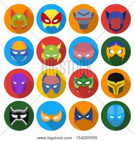 Superhero mask set icons in flat style. Big collection of superhero mask vector symbol stock