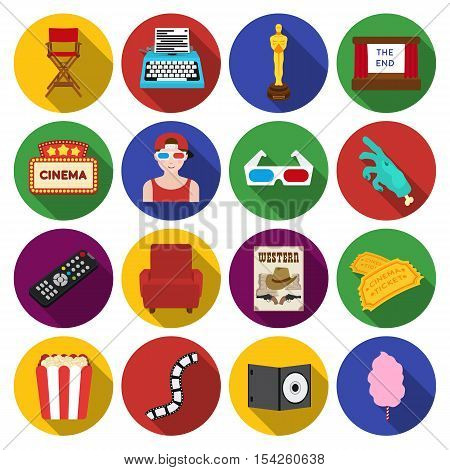 Films and cinema set icons in flat style. Big collection of films and cinema vector symbol stock