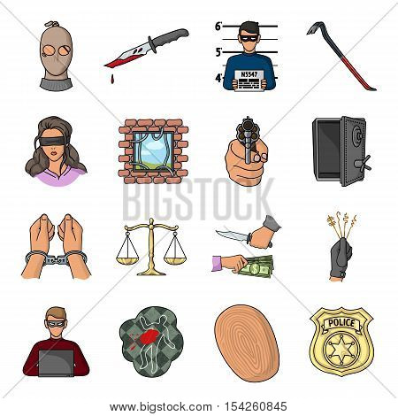 Crime set icons in cartoon style. Big collection of crime vector symbol stock