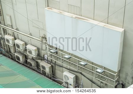 White blank billboard on building wall outdoor