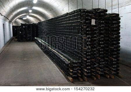 A wine cave of Novyi Svit in Crimea. A wine cave with sparkling wine. A wine cave of Novyi Svit (winery).