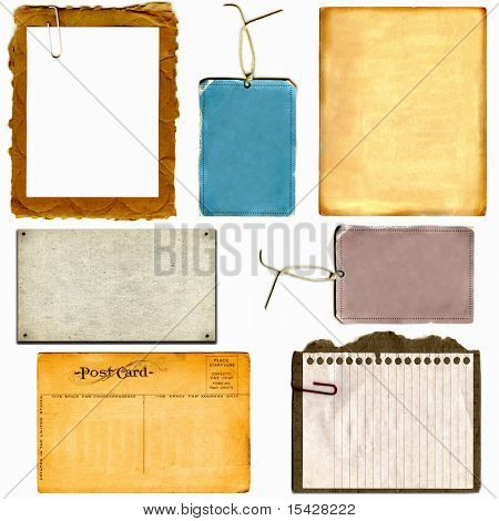 Real Cardboard And Paper Items, Postcard From 1900s And Vintage Tags Each Isolated On White