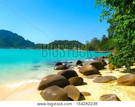 The blurred view of Phi Phi Islands in the Andaman Sea Thailand