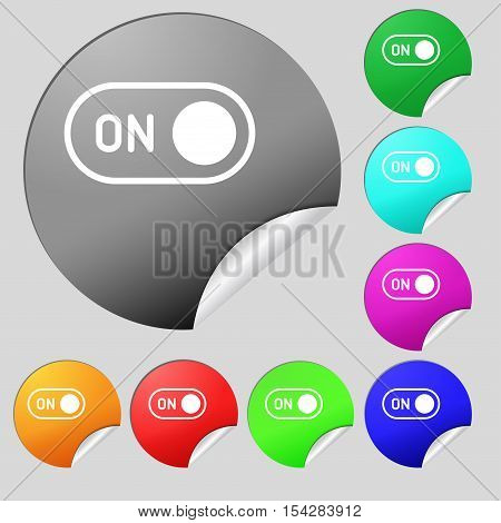 Start Icon Sign. Set Of Eight Multi Colored Round Buttons, Stickers. Vector