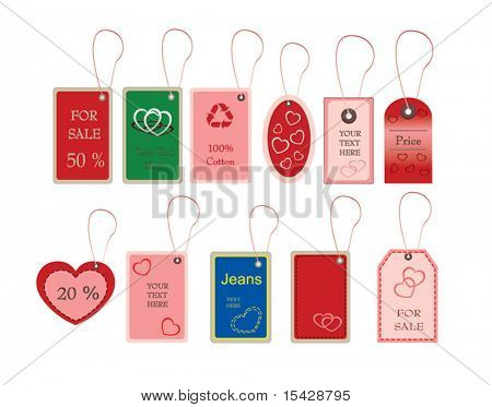 VECTOR version.  Tally and labels with valentines shapes