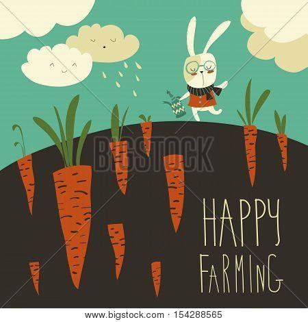 Pretty little rabbit and carrot field. Vector illustration
