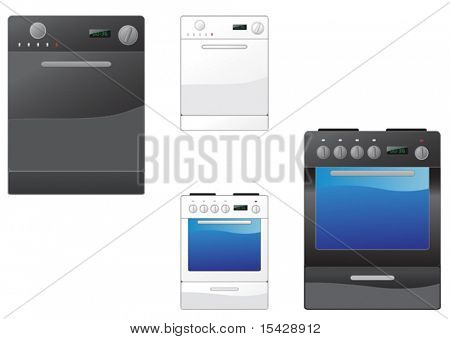 VECTOR. Modern stove and dishwasher on the white